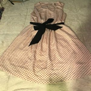 Forever21 Pink with Black Polka Dot Dress & Bow